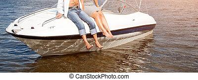 combok, függő, alapján, a, csónakázik, úszó, képben látható, a, river., szeret, párosít, vagy, barátok, bágyasztó, képben látható, egy, jacht, élvez, nap, képben látható, napos, nyár, day., szünidő, ünnepek, romantikus, theme., transzparens, helyett, website