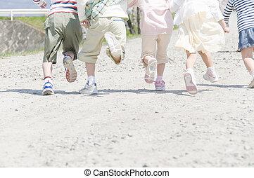 combok, közül, gyerekek, futás
