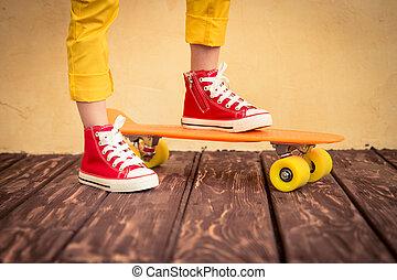 combok, közül, skateboarder