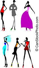 combok, mód, girls., hat, hosszú