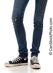 combok, noha, farmernadrág, és, retro, fekete, gumitalpú cipő, képben látható, egy, white háttér