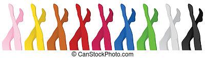 combok, pantyhoses, színes, nők