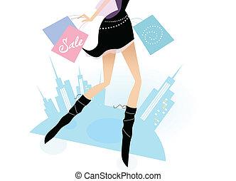 combok, város, woman bevásárol, hosszú