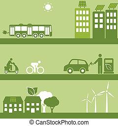 combustível, alternativa, edifícios, solar