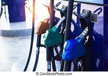 combustível, bocal, estação, gás