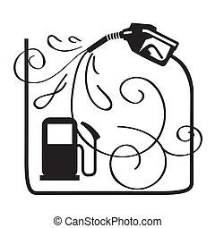combustível, bocal, gasolina