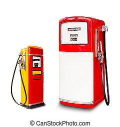 combustível, distribuidor, retro