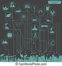 combustível, energia, infographic, indústria