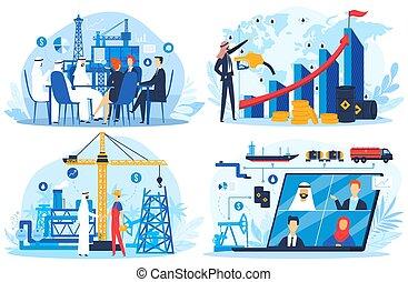 combustível, ilustração, uae, negócio, apartamento, árabe, ...
