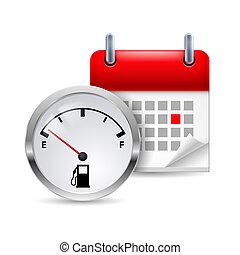 combustível, indicador, calendário