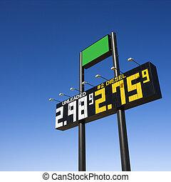 combustível, prices., sinal