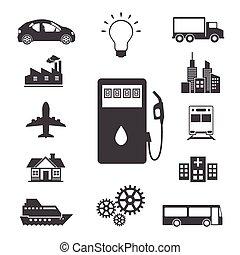 combustível, set., ícones