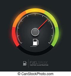 combustível, vetorial, medida