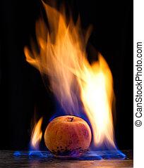combustión, manzana