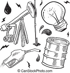 combustibili, oggetti, schizzo, fossile