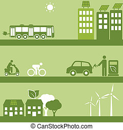 combustible, alternativa, edificios, solar