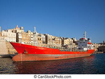 combustible, barco, en, muelle