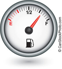 combustible, coche, vector, ilustración, calibrador