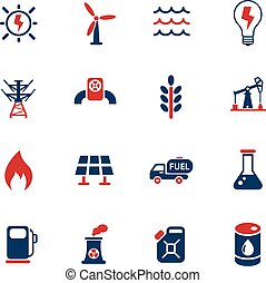 combustible, conjunto, potencia, icono