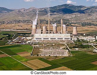 combustible fossile, centrale électrique, aérien