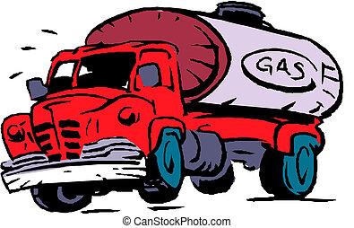 combustible, grande, petrolero, gas, camión