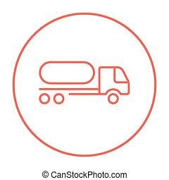 combustible, línea, camión, icon.