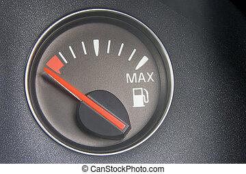 combustible, lectura, calibrador, vacío