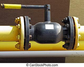 combustible, tubo, válvula, gas
