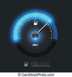 combustible, vector, calibrador