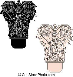 combustion, vu, vecteur, moteur, illust, interne, front.