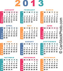 começa, calendário, 2013, (week, sunday).