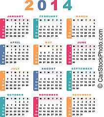começa, calendário, sunday)., 2014, (week