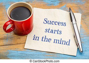 começa, mente, sucesso