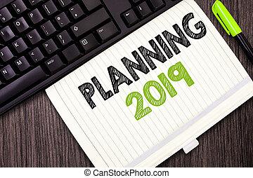 começar, fim, mente, mostrando, posicionar, termo, longo, sinal, planificação, texto, conceitual, 2019., objetivos, foto