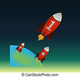 começar, vermelho, foguetes