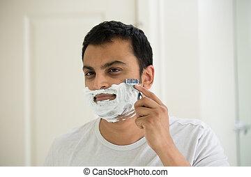 começo matutino, barbear