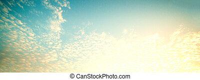 começo matutino, céu, cena, com, amanhecer, nuvens, raios...