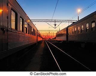 começo matutino, em, a, ferrovia, stat