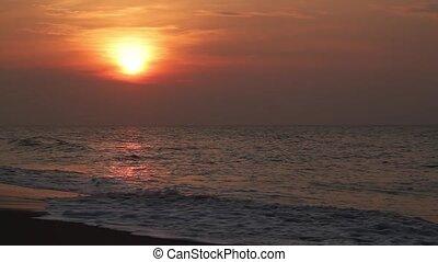 começo matutino, sol, e, surfar, volta