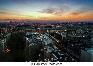 começo matutino, vista, sobre, a, skyline, em, varsóvia