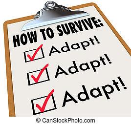 come, a, sopravvivere, parole, su, uno, lista, appunti,...