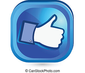 come, bottone, esso, su, facebook, pollice