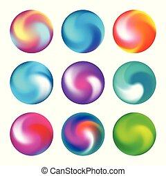 come, collezione, palla, bottoni, arcobaleno, bianco