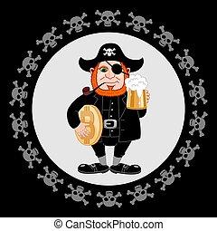 come, internazionale, flyer., birra, bitcoin, giorno, tubo, tazza, festa, fumo, pirata, discorso