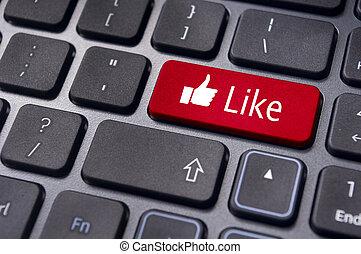 come, messaggio, su, tastiera, bottone, sociale, media,...