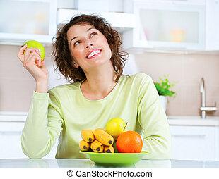 come, mulher, fruta fresca, jovem, concept., fazer dieta, alimento., saudável