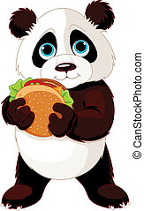 come, panda, hamburguesa