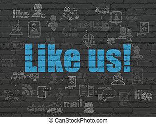 come, us!, parete, media, fondo, sociale, concept: