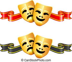 comedia, teatro, máscaras de tragedia