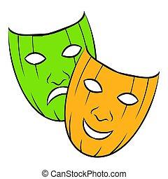 comedia, trágico, y, icono, caricatura